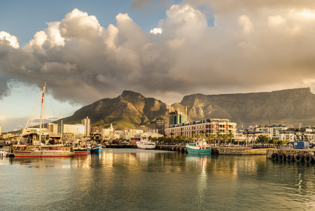 Cape Town harbor, Waterfront sunset. Table mountain, South Africa