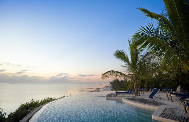Tropical pool resort overlooking the Indian Ocean