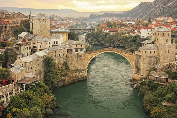 Town of Mostar and Stari Most at sunset.