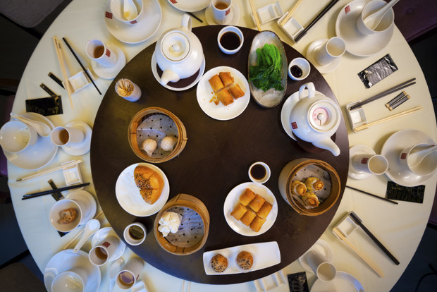 Traditional round table with food